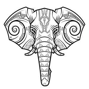 Cabeza de elefante abstracto