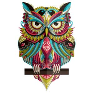 Diseño de búho colorido para tatuaje