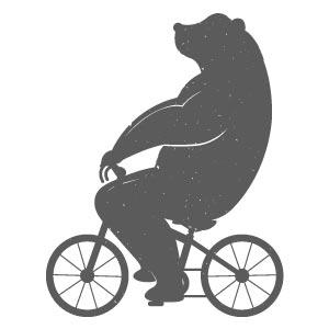 Figura oso en bicicleta para tatuaje