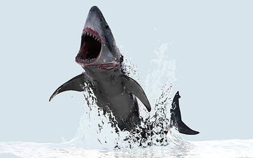 Ilustración digital de salto de gran tiburón blanco