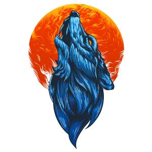 Lobo aullando con luna para tatuaje