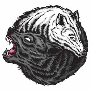 lobos símbolo yin yang para tatuaje