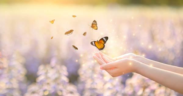 Mujer soltando mariposas al vuelo