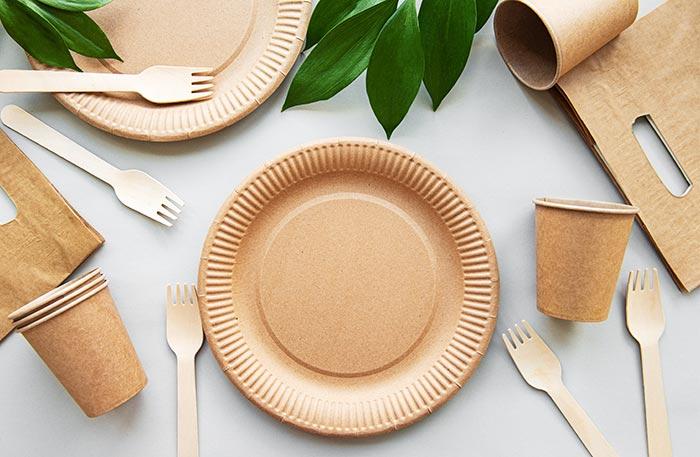 Plato y cubiertos de plástico